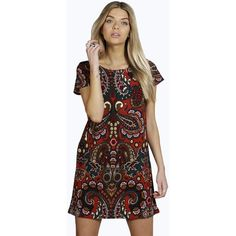 Boohoo Ava Paisley Scoop Neck Shift Dress ($26) ❤ liked on Polyvore featuring dresses, rust, brown cami, evening dresses, day to night dresses, polyester camisole and brown evening dress