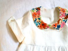 Pure Linen & Liberty Peter Pan Collar Dress with French Cuffs