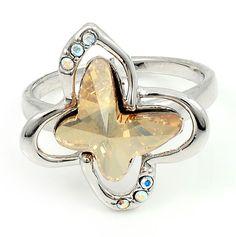 Swarovski Ring, Rockin' Butterfly, Topaz Crystal