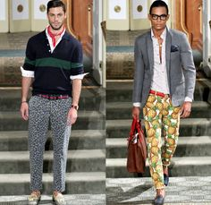 Michael Bastian 2014 Spring Summer Mens Runway Collection - New York Fashion Week - Pineapples Leopard Prints American Tourist in Paris: Designer Denim Jeans Fashion: Season Collections, Runways, Lookbooks and Linesheets