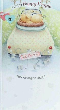 To the happy couple ♥ Teddy Bear Cartoon, Teddy Bears, Friend Cartoon, Teddy Bear Pictures, Blue Nose Friends, Hallmark Greeting Cards, Wedding Anniversary Cards, Happy Anniversary, Bear Illustration