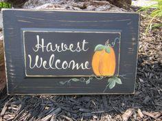 Fall Pumpkin Sign Harvest Halloween Thanksgiving by simplyzofia, $15.00