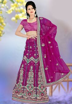 Magenta Net Lehenga Style Saree with Blouse