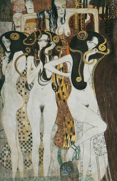 Three Gorgons and Sickness, Madness, and Death from the Beethoven Frieze - Gustav Klimt, 1902. Painted for the 14th Vienna Secessionist Exhibition, and now permanently located in the Vienna Secession Museum