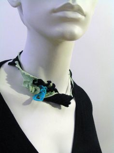 Green  blue crochet necklace Matisse by Crochet2Chic on Etsy, $45.00