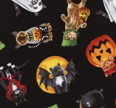 Cute Halloween kitties in various spooky costumes.Probably the cutest Halloween fabric in town! Uses: crafts, quilting, dressmaking, bags, home decor etc Fabric type: 100% medium weight cotton Fabric width: approx 112cm / 44 inches If you order a single 1/4 metre it will be cut as a fat quarter. Multiple units will be cut in one continuous piece. View our fabric ordering guide and guide to fabric care Price per metre £12.00