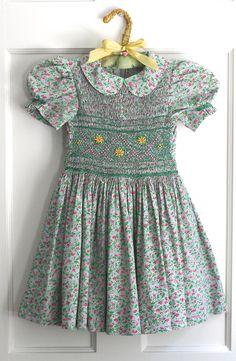 Vintage Homemade Hand Smocked Little Girls Dress Heirloom Calico