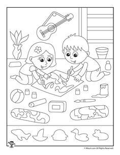 Art Class Hidden Pictures Page Kids Travel Activities, Printable Activities For Kids, Worksheets For Kids, Book Activities, Preschool Assessment, Kindergarten Activities, Highlights Hidden Pictures, Hidden Pictures Printables, Hidden Picture Puzzles