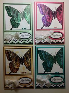 Card set, Stampin Up! Swallowtail stamp, Justrite background stamp, Spellbinders dies, Lindy's Stamp Gang products. Design by Kim Wright