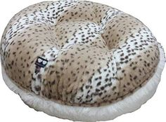 BESSIE AND BARNIE 30-Inch Bagel Bed for Pets, Small, Snow Leopard/Snow White