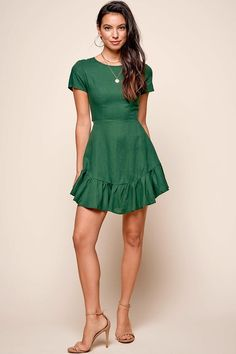 1625954bcb Meilani A-line Empire Dress Forest Green