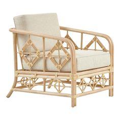 Diamond Club Chair, Beige, Rattan | Chairish Bamboo Furniture, Home Furniture, Indoor Rattan Furniture, Shabby Chic Material, Ottoman Sofa, Whitewash Wood, Lounge Sofa, Dream Home Design, Club Chairs