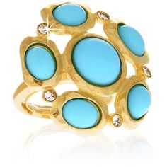 KENNETH JAY LANE FLOWER Turquoise Gold Hammered Ring (€38) found on Polyvore