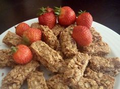 Peanut Butter-Strawberry Protein Snack Bars. perfect snack for liv - make a batch and freeze - pop in lunchbox