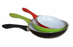 Neat Ideas Ceramic Frying Pans feature a PTFE (Teflon) free non-stick ceramic cooking service and forged alloy base for better heat distribution. Available in red, black and green in sizes 20cm, 24cm and 28cm. www.neatideas.tv