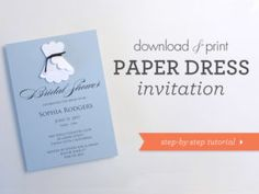 DIY 3D paper wedding dress shower invitation   Download & Print