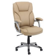 High-Back Leather Executive Office Chair with Arms $166