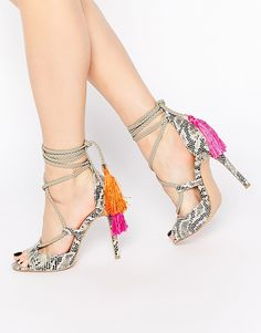 Image 1 of Daisy Street Tassel Ghillie Lace Up Heeled Sandals