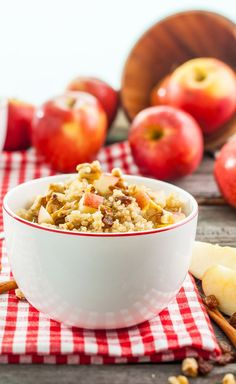 Breakfast: Apple Cinnamon Quinoa Recipe - A delicious and nutritious start to your day. Packed with protein and fiber, this hearty apple cinnamon breakfast quinoa will keep you full until lunch. #VegaRecipes