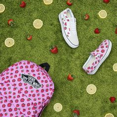 Introducing the Strawberries Pack: Keep it sweet with the Strawberries Realm Backpack Slip-Ons and Old Skools.  #vansgirls by vansgirls