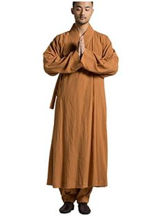 3f2f45ebac0 ZanYing Buddhist Meditation Monk Robe Traditional Gown Orange (S)