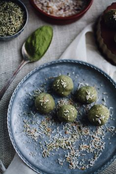 Matcha and Toasted Coconut Butter Energy Bites (vegan) recipe via will frolic for food