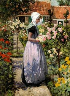 """Dutch woman in a garden,"" George Hitchcock, who was an American painter, born in Providence, Rhode Island, but mostly active in Europe, most notably the Netherlands."