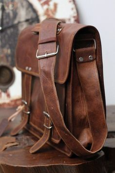 18 inch handmade leather retro leather bag by creativeleather, $89.00