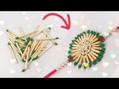Rakhi From Waste Material at Home Craft Stick Crafts, Diy And Crafts, Crafts For Kids, Arts And Crafts, Paper Crafts, Card Making For Kids, Matchstick Craft, Handmade Rakhi Designs, Competitions For Kids