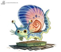Daily Painting 898# Gary the Snail by Cryptid-Creations on @DeviantArt Cute Animal Drawings, Kawaii Drawings, Cute Drawings, Cute Creatures, Fantasy Creatures, Chibi, Animal Puns, Illustrations, Creature Design