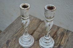 Vintage Hand Turned, White Washed Wooden Candle Holders, Set Of 2