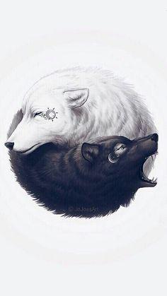 Fond d'éran loups en forme de yin et yang