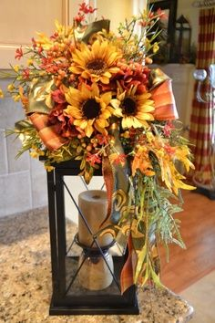 Dress up your lantern with a pretty fall swag. It is full of beautiful fall flowers, berries and ribbon. This swag attaches to your own lantern Fall Lanterns, Lanterns Decor, Decorating With Lanterns, Fall Lantern Centerpieces, Fall Swags, Fall Wreaths, Advent Wreaths, Fall Floral Arrangements, Autumn Decorating