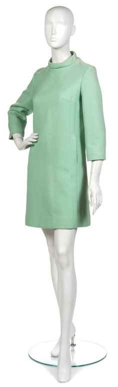 A Pierre Cardin Green Wool Dress,  1960s,  with on-seam pockets.