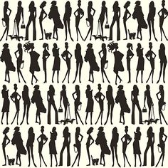 Bond Girls Wallpaper Elegant fashion model silhouettes, posing with their pets and accessories in black on white. Wallpaper from the Vital collection by Jordi Labanda.
