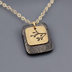 Tiny Branch Necklace in 14k gold and sterling silver by Lisa Hopkins Design