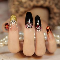 New 2013 fashion Vintage plaid french false nail,oval long design full cover japanese 3d nails,free shipping $12.90