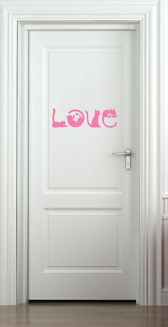 """WALL - Cats Spell LOVE - Wall Vinyl Decal - ©YYDC (12.5""""w x 3.75""""h) (Color Choices)"""