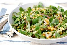 grilled corn salad with creamy avocado dressing