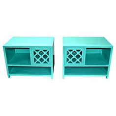 Check out this item at One Kings Lane! Baker Turquoise Nightstands, Pair