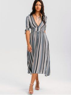 AD : Stripes Bowknot Button Up Midi Dress - STRIPE   Occasions: Casual ,Going Out   Material: Cotton,Polyester   Dresses Length: Mid-Calf   Collar-line: Plunging Collar   Sleeves Length: Short Sleeves   Decoration: Bowknot,Button   Pattern Type: Striped   With Belt: No   Season: Summer   Weight: 0.4150kg   Package: 1 x Dress
