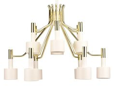You'll ❤ The Nuevo Chloe Pendant Light Polished Gold Metal White Metal Shades White Chandelier, Rectangle Chandelier, Chandelier Shades, Lantern Pendant, Chandelier Lighting, Pendant Lamps, Light Pendant, Chandeliers, Modern Light Fixtures