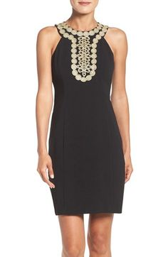 Free shipping and returns on Taylor Dresses Stretch Sheath Dress at Nordstrom.com. A golden bib of medallion embroidery gives worldly beauty to this princess-seamed sheath dress.