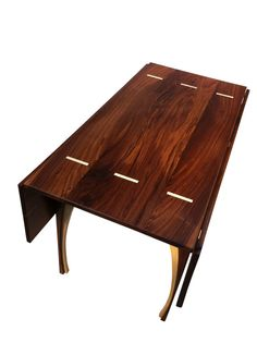Drop Leaf Dining Table - Solid Walnut - 48 Inches Square - Seats 8 - Contemporary Modern Lines by Derek Hurd