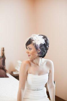 Birdcage Veil Bride makeup Feathers Flower Short Straight Wedding Hair & Beauty Photos & Pictures - http://WeddingWire.com