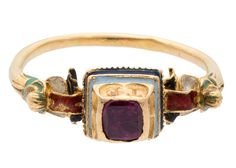 Renaissance Gold Ruby and Enamel Ring, Western Europe, C. 1570-1630Each side of the upper molding engraved with a pair of letters, GE, HY, TE and IV (added later?)