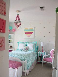 Bedroom , Decorating Tween Girl Bedroom Ideas : Tween Girl Bedroom Ideas  With Heart Wall Art