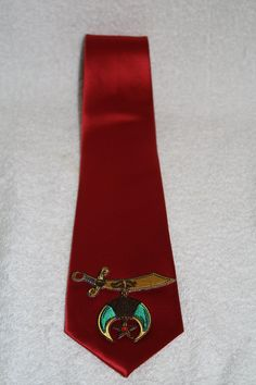 30600e9ca4b Shriner Noble embroidered scimitar logo patch necktie available in red and  black