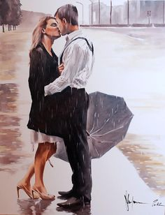 Painter by Igor Shulman via (Outside) The Square Gallery Art Timeline, Rain Art, She's A Lady, Love Is In The Air, Commercial Art, Couple Art, Figurative Art, Art Google, Contemporary Artists