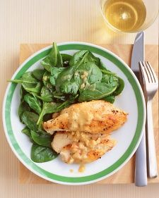 Sauteed Chicken with Spinach Substitute the Spinach with Butter Lettuce for a 1-A approved dinner.